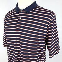 RLX Ralph Lauren Wicking Golf Polo Shirt XL Navy Blue Orange White Striped