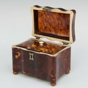 Antique Faux Tortoiseshell and Bone Tea Caddy Box, 19th century.