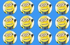 Minions despicable me cupcake toppers 5cm x 12 REAL FONDANT