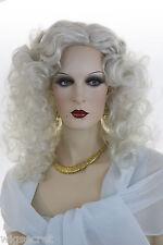 white Grey Long Medium Curly Skin Top Wigs