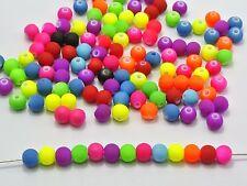 "500 Mixed Matte Neon Beads Acrylic Round Beads 6mm(0.24"")"
