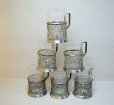 Vintage Filigree Set Six Tea Cup Holders Silver Plated Podstakannik USSR
