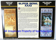 GREEN BAY PACKERS vs PATRIOTS Willabee Ward 22KT GOLD SUPER BOWL 31 TICKET XXXI