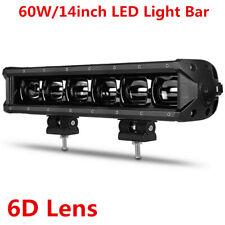 14''in Single Row 60W 6D LED Work Light Bar Flood Fog Driving Offroad Truck ATV