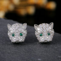Fashion Leopard Women 925 Silver Stud Earrings Emerald Free Shipping A Pair/set