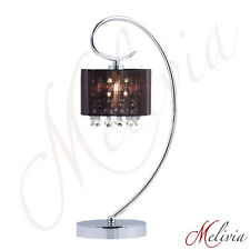 LAMPE DE TABLE TISSU NOIR CRISTAL table de chevet luminaire lampe chrome