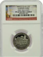 2016-S HARPERS FERRY CLAD QUARTER 25c FIRST RELEASES NGC PF69 ULTRA CAMEO