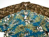 Paradise Blue L Men's Silk Short Sleeve Hawaiian Shirt LOT OF 2 Large NEW