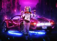 HARLEY QUINN Suicide Squad DC Joker Car Wall Art Print Pic Photo Poster A3 A4