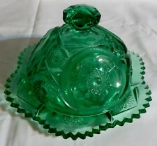VINTAGE GREEN EARLY AMERICAN PATTERN GLASS ROUND BUTTER DISH WITH LID - EAPG