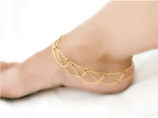 Fashion Beach Barefoot Chain Cross Tassels Chain Mesh Ankle Foot Anklet Bracelet