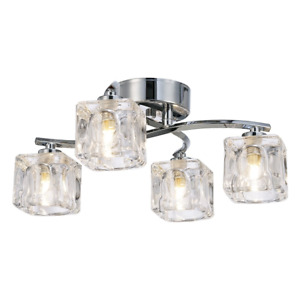 Modern Polished Chrome 4-Bulb Ceiling Light with Square Clear Ice Cube Shades...