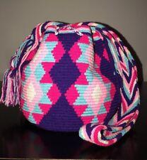 Authentic 100% Wayuu Mochila Colombian Bag Medium Colombia Girly Colors 🌸