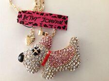 "PINK CRYSTAL SCOTTIE DOG 28"" Pendant Necklace Betsey Johnson"