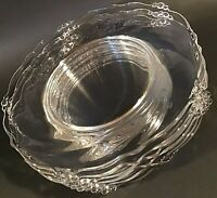 HEISEY LUNCHEON PLATES WAVERLY OPTIC 8 1/2 INCH SET OF 6 NO ETCH VINTAGE GLASS