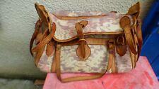 sac de voyage vintage en toile coloré  et cuir porté épaule années 50-60