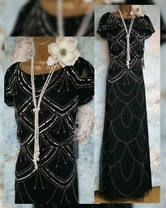New Adrianna Papell 20s gatsby lace Black silver beaded evening wedding dress 8