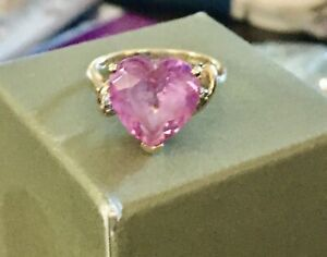 Vintage 10kt YELLOW gold BIG HEART shaped PINK sapphire DIAMOND cocktail ring 7