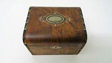 Ancien Coffret boite en bois décor médaillon incrustation Wooden box Art déco