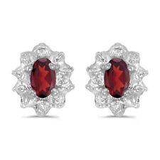 10k White Gold Oval Garnet And Diamond Earrings