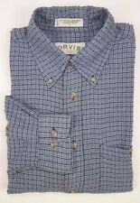Orvis Mens Shirt Large Blue Checked Rayon Viscose Polyester Blend Multicolor Sz*