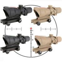 Rifle Scope ACOG 4X32 Red Green Fiber Optic Sight Chevron Reticle For Hunting