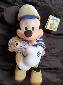LARGE 46 cms DISNEY CAPTAIN MICKEY MOUSE and SAILOR DUFFY BEAR - NEW & PERFECT