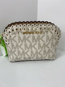 Michael Kors Cosmetic Bag Violet Cindy Pouch Logo Vanilla White Zip Top M2