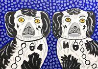 Original Painting Staffordshire Pottery Dogs On Blue, Decorative Art Naive/folk