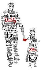 Personalised Dad Daddy Daughter Word Art Birthday Gift Keepsake