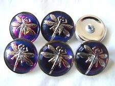 "CZECH GLASS BUTTONS (6 pcs)18mm -11/16"" DRAGONFLY/PLATINUM US-DS 003"