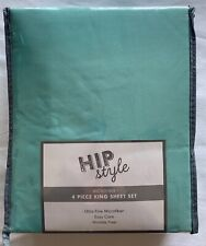 Hip Style Brand King Size Microfiber Sheet Set - New In Package - Teal Blue