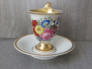 KPM BERLIN Biedermeier Tasse gr. Blumenbouquet / bunter Blumenstrauss um 1850