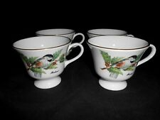 Boehm Signed Fine Bone China Chickadees and Holly Pattern 4 Footed Cups VG w2s2