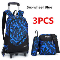 3pcs Kids Students School Bag Trolley Backpack Satchel With Wheels Removable