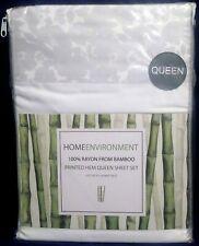 Home Environment Bamboo Printed Hem Queen Sheet Set Gray New