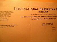 1930 INTERNATIONAL HARVESTER COMPANY Springfield MISSOURI BILL HEAD