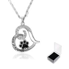 Women Fashion Crystal Rhinestone Hollow Heart Dog Paw Prints Pendant Necklace
