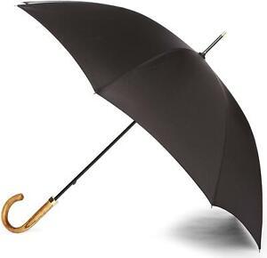 Fulton Commissioner Gents Elmwood Hook Handle Walking Long Umbrella Black