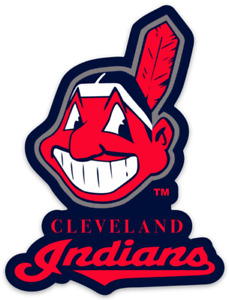Cleveland Indians Chief Wahoo Logo Type MLB Blue Background Die-cut MAGNET