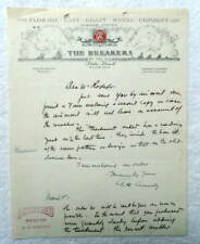 1940 ILLUSTRATED LETTERHEAD THE BREAKERS BY THE SEA PALM BEACH FLORIDA #B3K