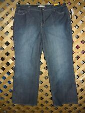 Fashion Bug Blue Stretch Denim Right Fit Yellow Square Jeans Plus Size 22WP NWT!