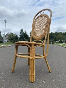 Vintage Mid Century Natural Bamboo Cane Rattan Weave Seat Side Desk Chair