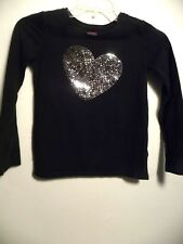 Girl's FADED GLORY Black Long Sleeve Sequence Heart Pullover Top-Sz M (7/8)