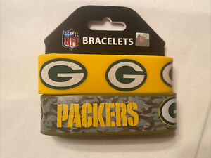Licensed NFL Green Bay Packers Rubber Wrist Band Fan Bracelet SiliconePack Of 2