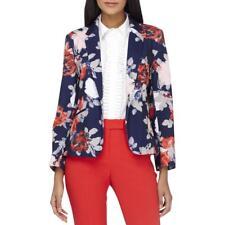 Tahari ASL Womens Navy Floral Print Long Sleeve One-Button Blazer 12 BHFO 5495