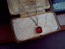 Vintage Jewellery Ruby Red Emerald Cut Crystal Pendant Necklace 12 x 10mm