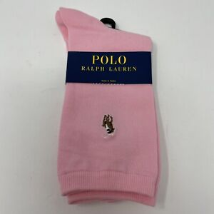Polo Ralph Lauren Womens Socks Cotton Blend Trouser Embroidered Polo Pony Pink