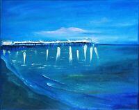 California Night Painting Malibu Beach Seascape Original Canvas Art 16 by 20 In