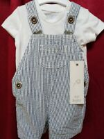 Baby boy dungarees baby grow set outfit up to 1 months, Fred & Florence brand